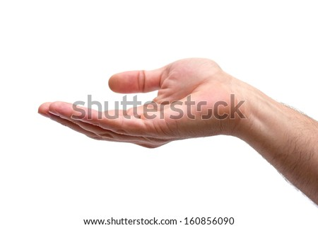 isolated caucasian man hand