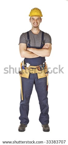 isolated caucasian young manual worker standing