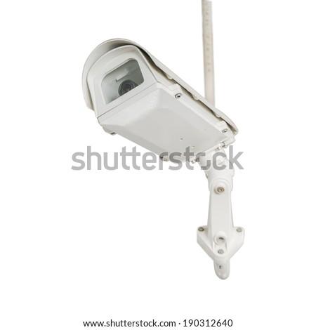 Isolated CCTV security camera on white background - stock photo