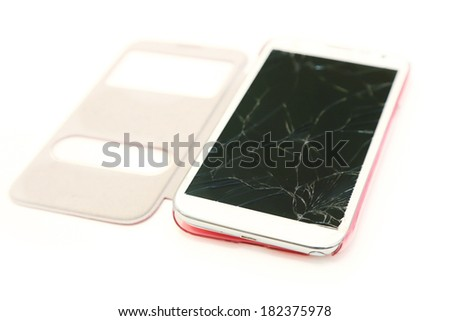 isolated cell phone with broken screen - stock photo