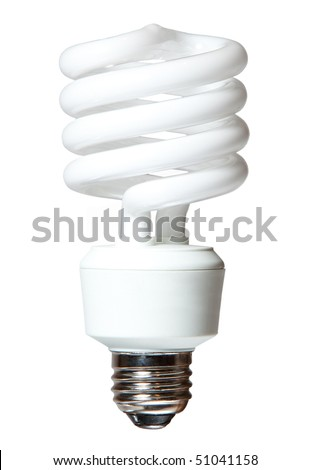 Isolated CF (compact fluorescent) light bulb on white background - stock photo