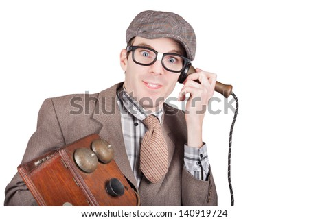 Isolated character portrait of a comic nerd businessman on a funny phone communication. Over white background - stock photo