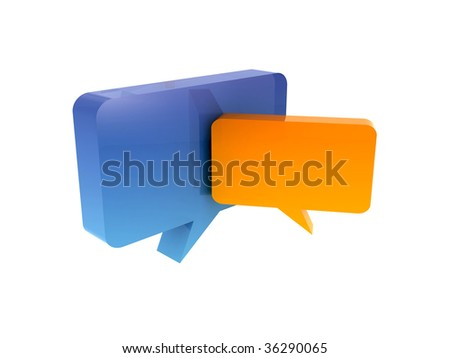 isolated chat box - stock photo