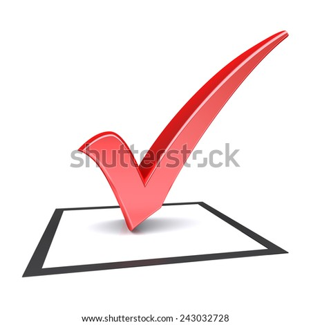 Isolated check box with red check mark. 3d image - stock photo