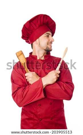 Isolated chef posing on white background smiling