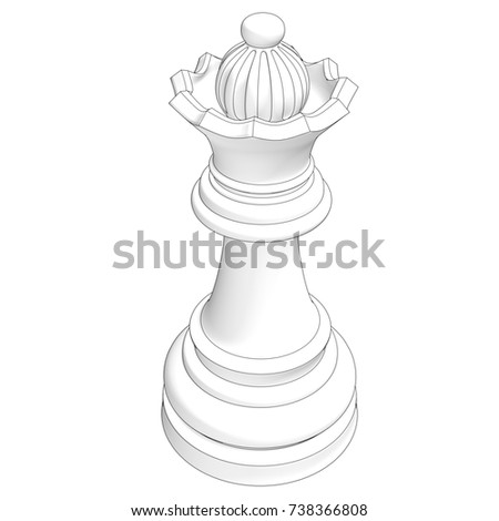 isolated chess piece with contour 3d illustration