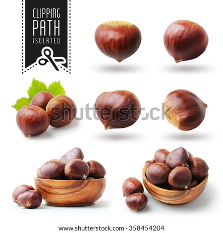 Isolated chestnut set with clipping path - stock photo