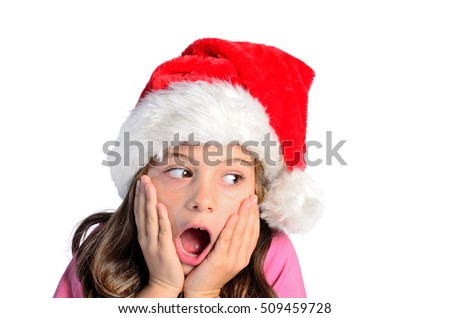 isolated child girl surprise on white