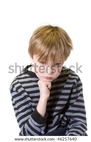 isolated child on white with serious expression