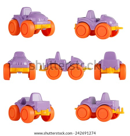 isolated children toy car. different angles - stock photo