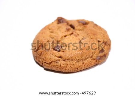 Isolated chocolate chip cookie