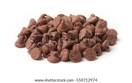 Isolated chocolate chip morsels on white background.