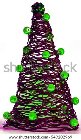 isolated christmas tree decoration thread with pearls grinch green and pink thread