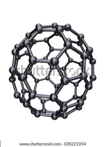 Isolated Chrome C70 Fullerene - stock photo