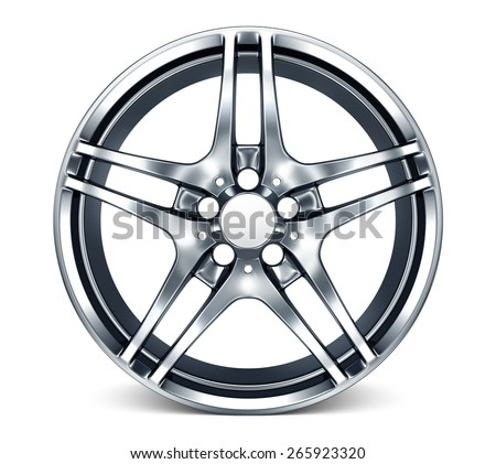 Isolated chromed wheel rim on white background