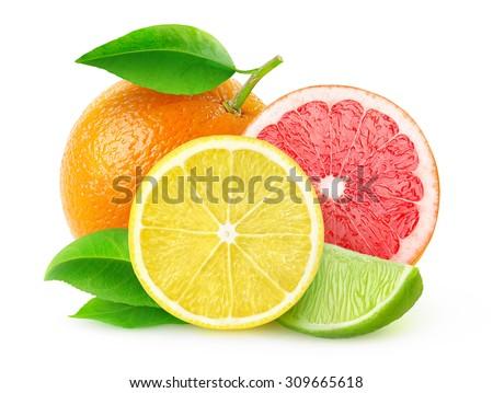 Isolated citrus fruits. Lemon slice, lime, pink grapefruit and orange isolated on white background, with clipping path - stock photo
