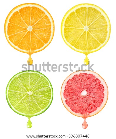 Isolated citrus slices. Cut pieces of orange, lemon, grapefruit and lime fruits with falling drop of juice isolated on white background with clipping path - stock photo