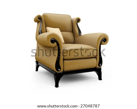isolated classic armchair against white background