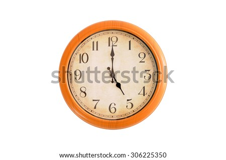 Isolated clock showing 5:00 o'clock - stock photo