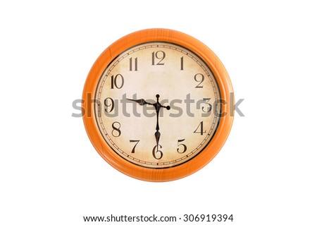 Isolated clock showing 9:30 o'clock - stock photo