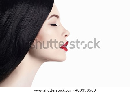 isolated close-up beauty portrait of young woman with red lips.beautiful girl with clean fresh face. Cosmetics - stock photo