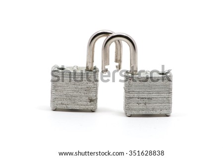 Isolated close up of two silver locks