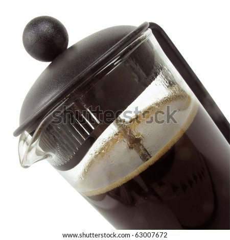 Isolated close up view of a french press coffee maker - stock photo