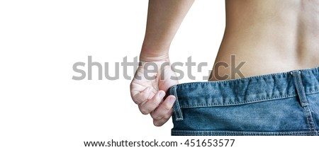 Isolated close up waist at women back or rare view with big loose denim jeans for concept lose weight and diet or body changed and slender on white background with clipping path