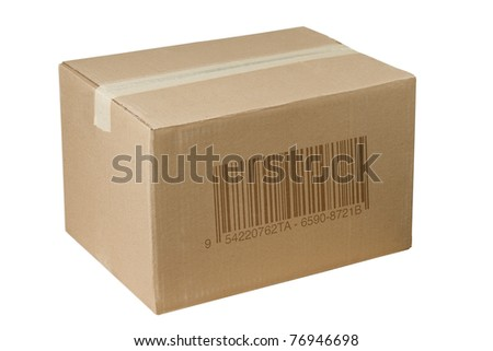 isolated closed shipping cardboard box whit bar code - stock photo