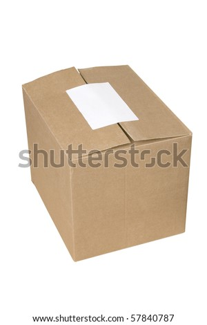 isolated closed shipping cardboard box whit white empty label - stock photo