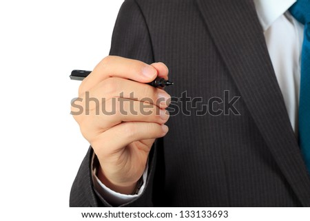 Isolated closeup on a hand of business man holds a pen