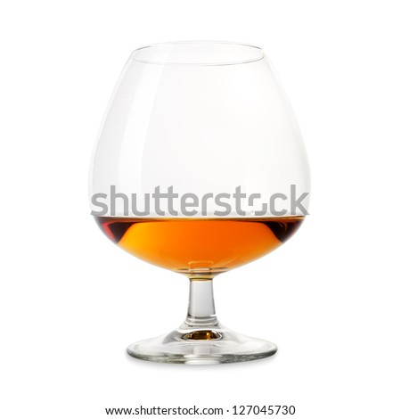 Isolated cognac wineglass on a white background - stock photo