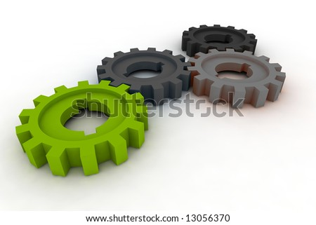 isolated cogwheels - business network - illustration - stock photo