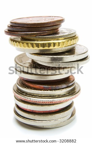 Isolated coins pile over white background
