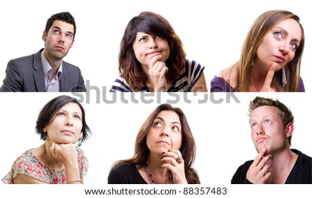 Isolated collage of people thinking hard about a problem