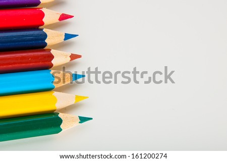 Isolated color pencils, white background