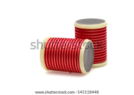 Isolated color tailor yarns on a white background