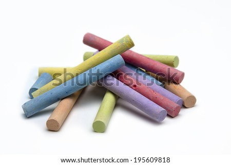 Isolated colored chalk on white background