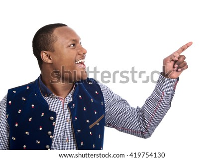 Isolated colored man in bavarian tradition clothes making thumbs up gesture isolated over white background. - stock photo