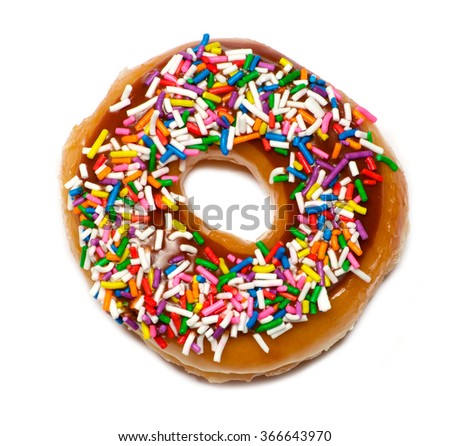 Isolated  colorful donut with topping over white - stock photo