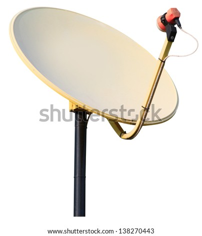 isolated communication satellite dish with white background.