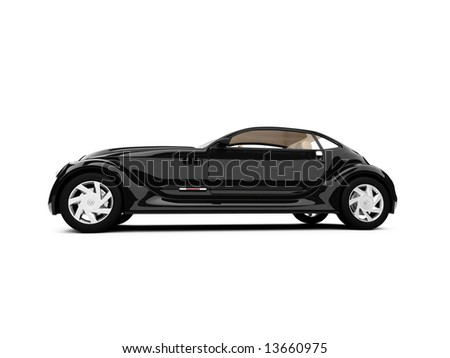 isolated concept of retro car against white - stock photo
