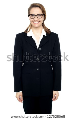 Isolated confident and cheerful business professional in formals. - stock photo