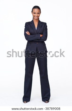 Isolated confident Indian businesswoman smiling at the camera agaisnt white - stock photo