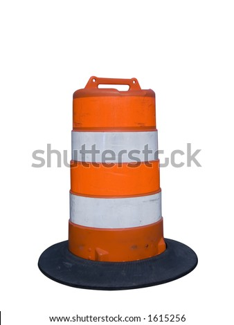 Isolated construction barrier - stock photo