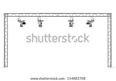 Isolated construction with spotlights - stock photo