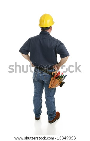 Isolated construction worker viewed from behind.  Full body on white.