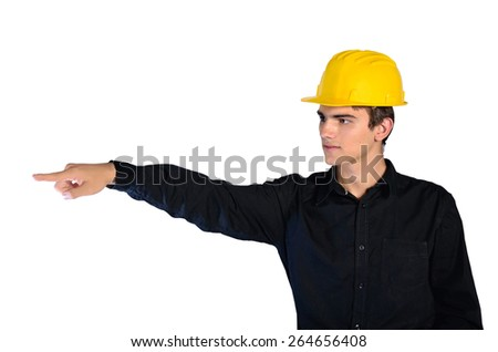 isolated constructor with helmet pointing - stock photo