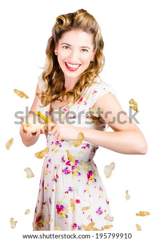 Isolated cooking at home portrait of a young woman about to prepare healthy food when peeling vegetable salad in a diet and healthy lifestyle concept on white background - stock photo