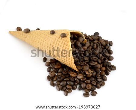 isolated cornet with coffe beans on white background